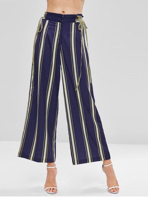 Lace Up Stripes Pantalones anchos - Multicolor L Mobile