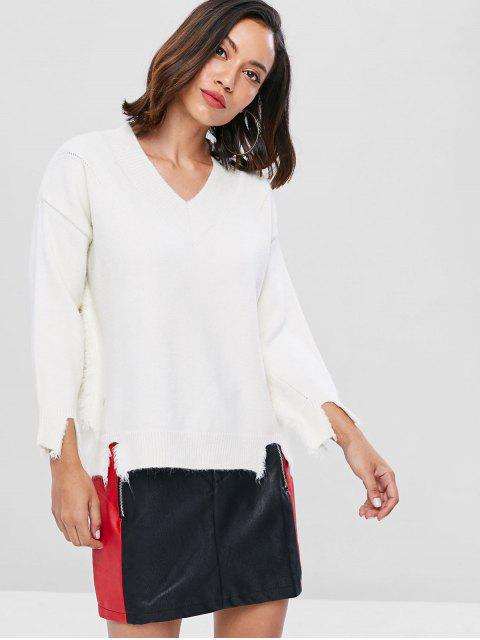 womens Distressed Oversized Sweater - WHITE ONE SIZE Mobile