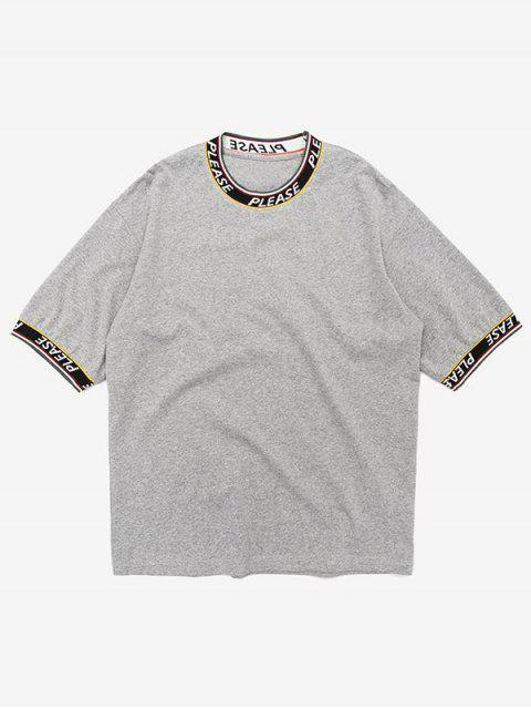 unique Letter Tape Elastic Patch T-shirt - GRAY L Mobile