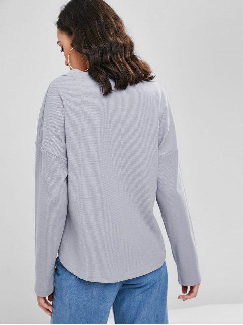 ladies Plain Textured Top - GRAY CLOUD L Mobile