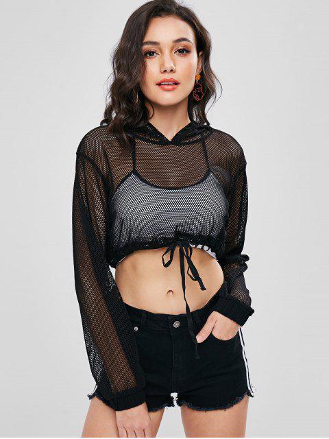 outfits Fishnet Drop Shoulder Crop Hoodie - BLACK L Mobile