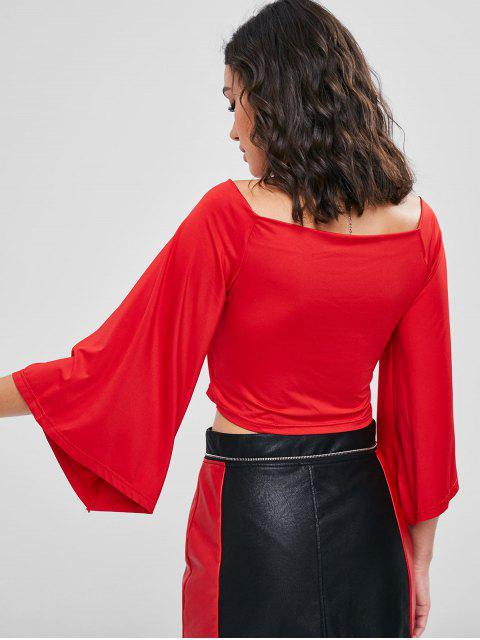 lady Wide V Neck Crossover Flare Sleeve Top - LOVE RED L Mobile