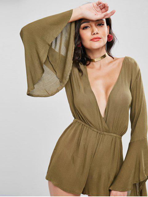 womens Plunge Long Bell Sleeve Romper - ARMY GREEN M Mobile