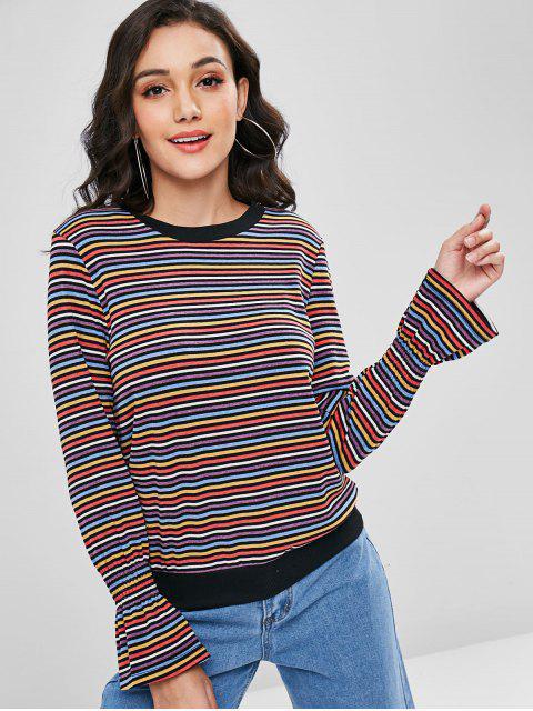 best Multicolored Bell Cuffs Striped Sweater - MULTI L Mobile