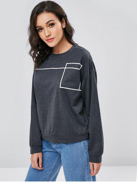 outfits Contrasting Graphic Oversized Sweatshirt - GRAY S Mobile