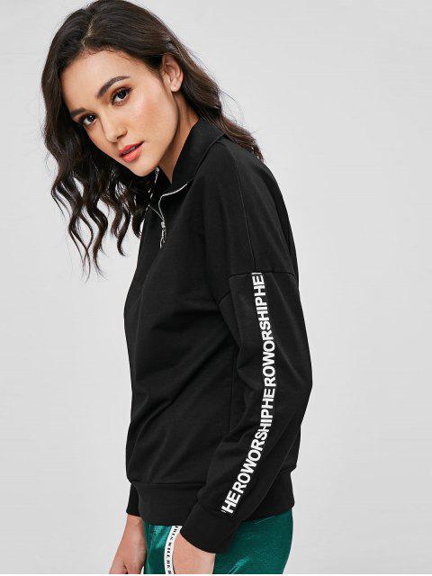 Sweat-shirt Lettre avec Demi Zip - Noir L Mobile