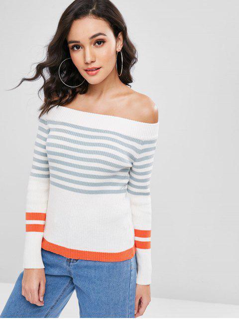 affordable Stripes Off Shoulder Sweater - WHITE L Mobile