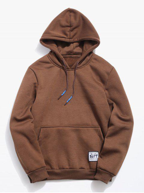 affordable Solid Pouch Pocket Fleece Hoodie - COFFEE M Mobile