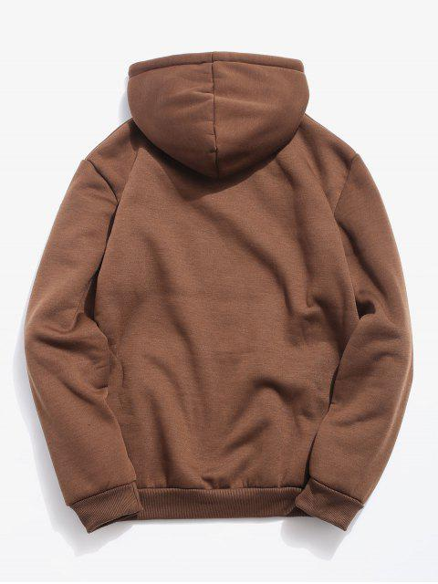 outfits Solid Pouch Pocket Fleece Hoodie - COFFEE L Mobile