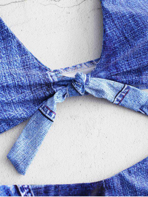 buy Denim Print Tie Front Bikini Set - SAPPHIRE BLUE L Mobile