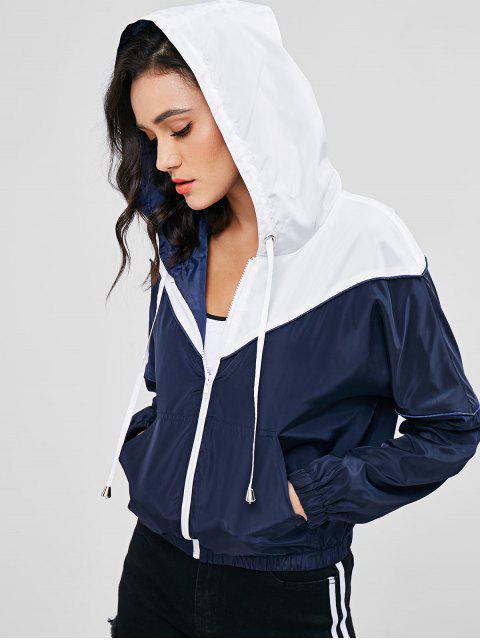 buy ZAFUL Zip Up Two Tone Windbreaker Jacket - DARK SLATE BLUE M Mobile