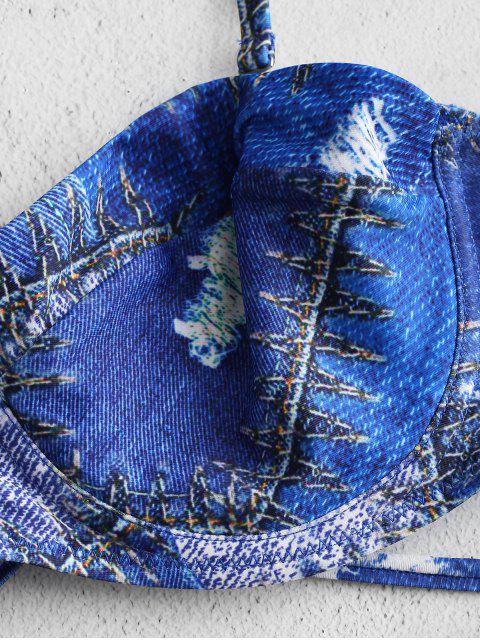 online Denim Print Balconette Bikini Set - SAPPHIRE BLUE M Mobile
