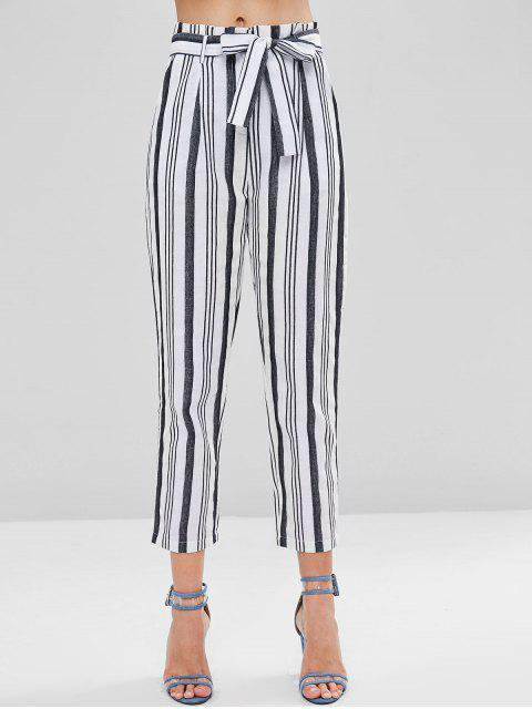 ladies High Waisted Striped Paper Bag Pants - WHITE S Mobile