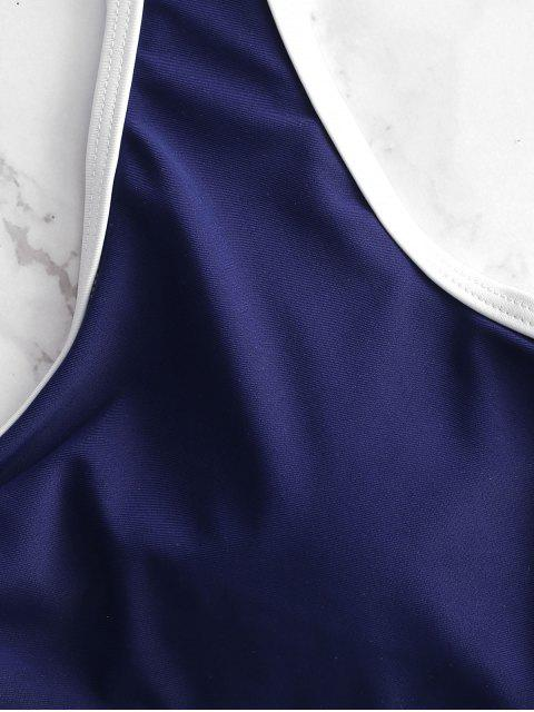 womens ZAFUL Cutout Twist High Cut Swimsuit - DENIM DARK BLUE L Mobile