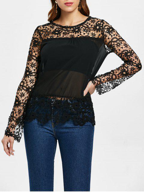 lady Stylish Round Neck Long Sleeve Spliced Hollow Out Women's Blouse - BLACK S Mobile