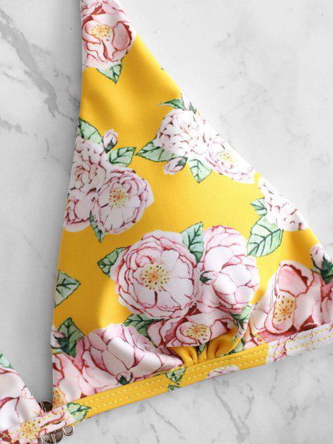 Hohes Bein Blumen Gepolstertes Bikini-Set - Niedliches Gummi Gelb S Mobile