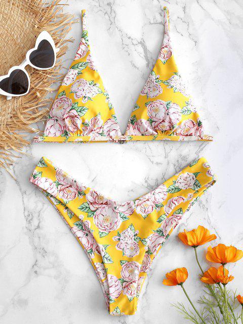 buy High Leg Floral Padded Bikini Set - RUBBER DUCKY YELLOW L Mobile
