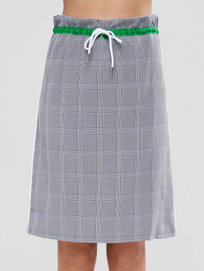 Slit Back Checked Drawstring Midi Skirt - Multi M