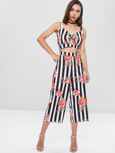 7844a3e9abb Striped Flower Bowknot Wide Leg Jumpsuit - Multi S ...