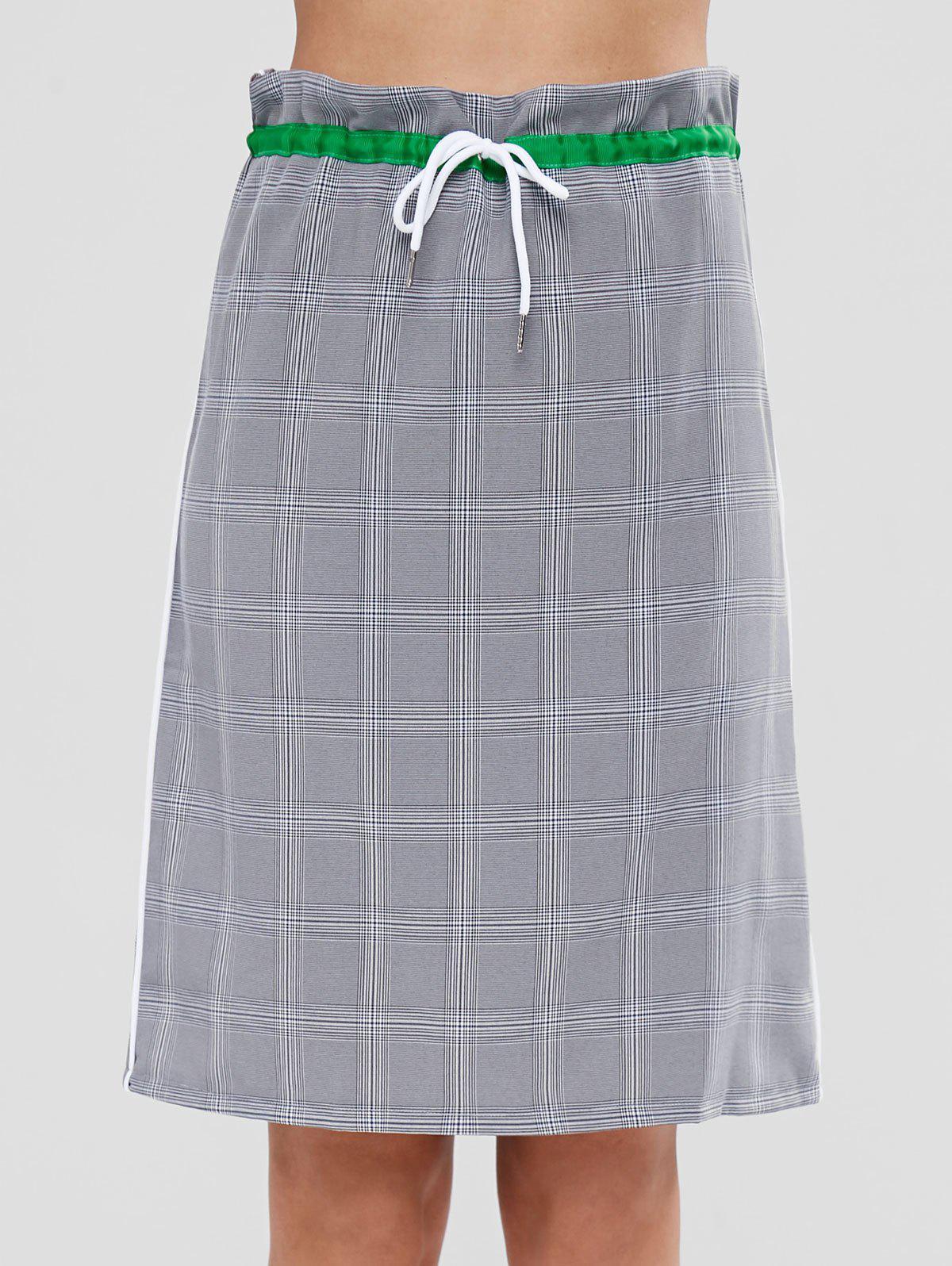 Slit Back Checked Drawstring Midi Skirt