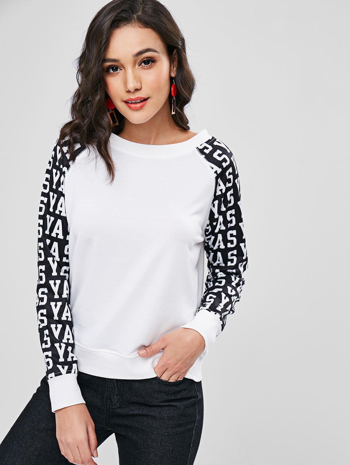 Two Tone Letter Graphic Sweatshirt, White