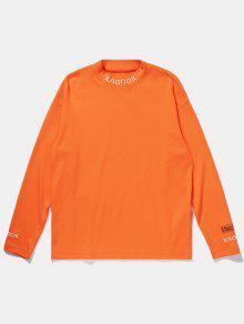 رسالة مطرزة الجانب الشق مطاطا القميص - برتقالي قاتم 2xl