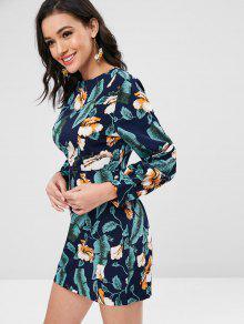 Espalda Floral De Azul Vestido Cremallera M Medianoche Larga De En Con La Manga q8x8TZt