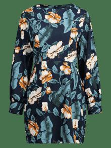 En Floral De Espalda M Vestido Con Medianoche Cremallera De La Manga Larga Azul t64BY