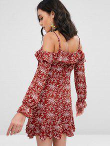 Rojo o Casta Fruncido M Vestido Y Descubiertos Con Hombros Floral pqcw876O