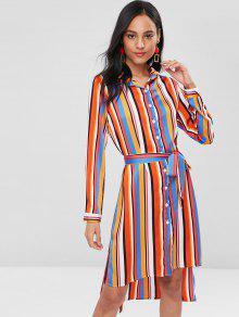 Y De De S Multicolor Camisa Altas Bajas Rayas Vestido X4HnF4