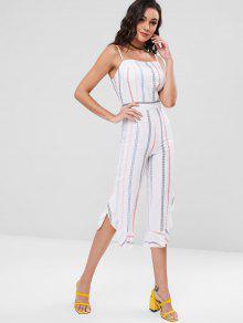 363fb61a9a50 27% OFF  2019 Cami Striped Ruffle Cuff Wide Leg Jumpsuit In WHITE ...