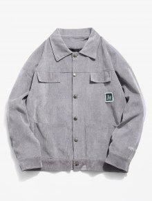 زر خمر إغلاق جيوب سروال قصير - اللون الرمادي Xs