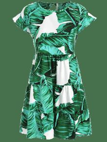 S Vestido Mini De Gris Palma Con Volantes Turquesa wpaw6f