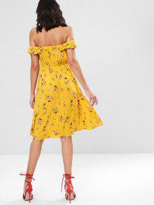 Florales Vestido Volantes Brillante Hombro Del Del Amarillo S 8wqBdpPq