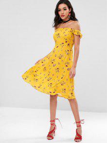 الكشكشة الأزهار معطلة الكتف اللباس - أصفر فاقع L
