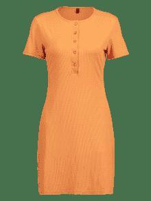 Abotonado Abotonado S Mini Oscuro Y Vestido Medio Naranja 6wxx5HBq