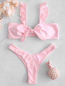 Frill Tie Front Bikini Set - وردة زهرية M