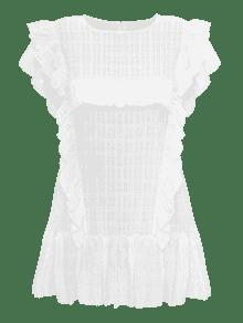 Blanco Volantes Con Y Mini Vestido Mangas q04AnUf