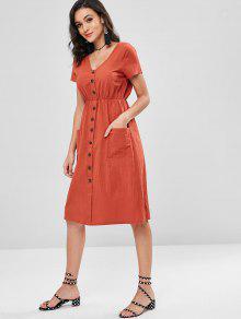 Casta Decorativos Parche A Vestido Media Pierna Rojo S Con Botones o ZYqS0x