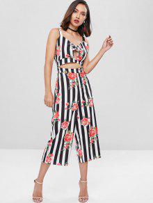 3f04c22f3b4d 59% OFF  2019 Striped Flower Bowknot Wide Leg Jumpsuit In MULTI