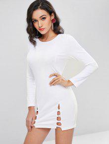 تقسم سبليت هيم كم طويل اللباس Bodycon - أبيض L