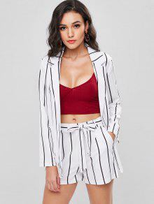 8720f9f033 25% OFF] [HOT] 2019 Striped Blazer And Shorts Co Ord Set In WHITE ...