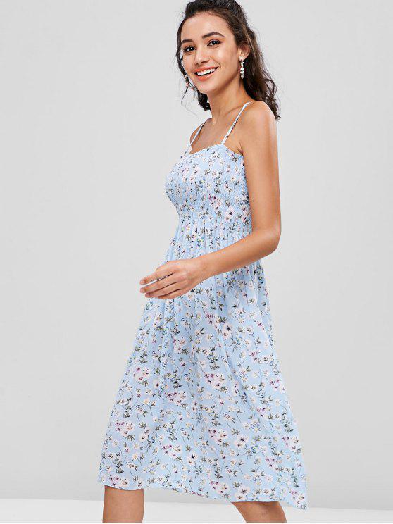 Gerafftes Blumen Cami Kleid - Helles Blau Eine Größe