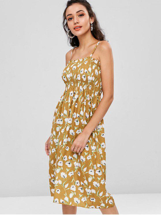 trendy Shirred Floral Print Cami Dress - HARVEST YELLOW ONE SIZE