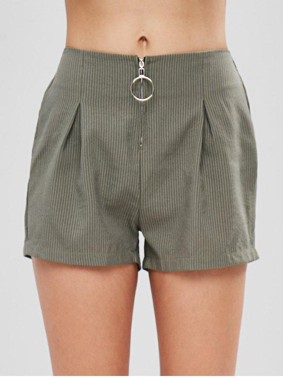 women's O Ring Zip Up Striped Shorts - HAZEL GREEN S