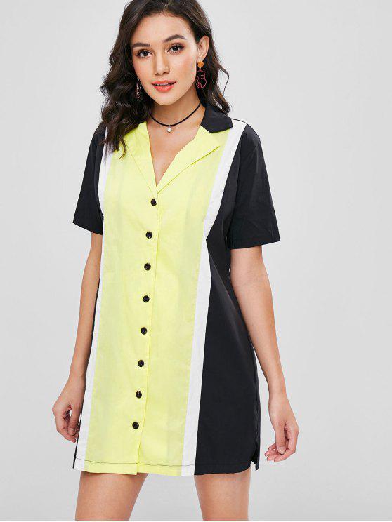 unique Lapel Color Block Shirt Dress - MULTI S