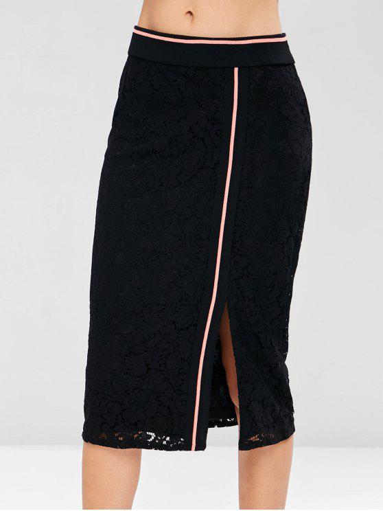 women's Side Stripe Lace Midi Skirt - BLACK L