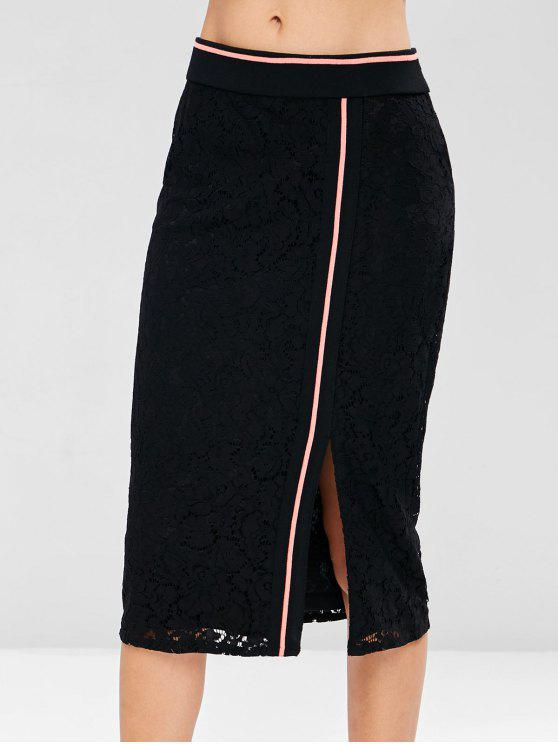 ladies Side Stripe Lace Midi Skirt - BLACK M