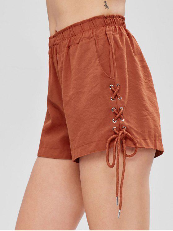 fashion Pockets Lace Up High Waisted Shorts - GRAPEFRUIT M