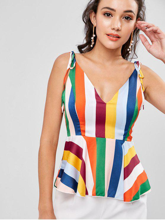 1d0c11544cc 16% OFF  2019 Tie Shoulder Striped Peplum Cami Blouse In MULTI